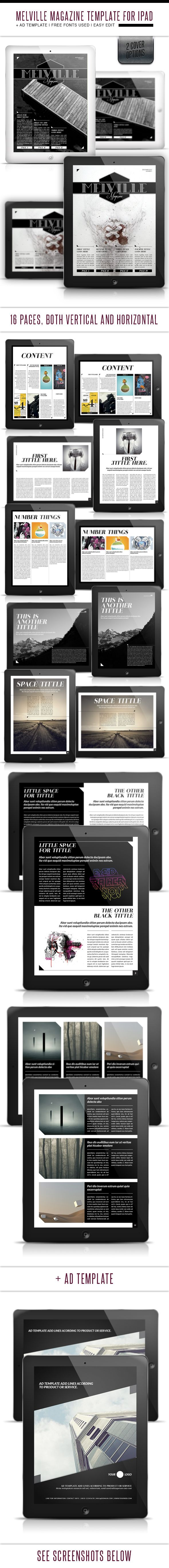 This Ipad tablet magazine template contains a total of 32 pages: 16 portrait view + 16 landscape view. (Plus One cover alternative) Ipad resolution.