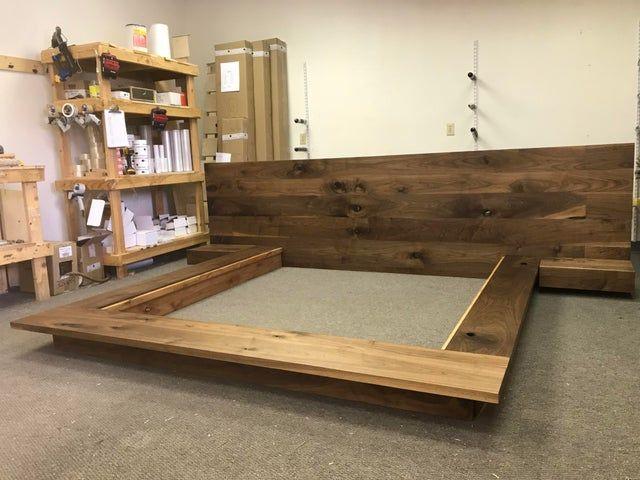 Floating Platform Bed Frame With Single Drawer Floating Nightstands Walnut Woodworking Floating Platform Bed Platform Bed Designs Diy Platform Bed