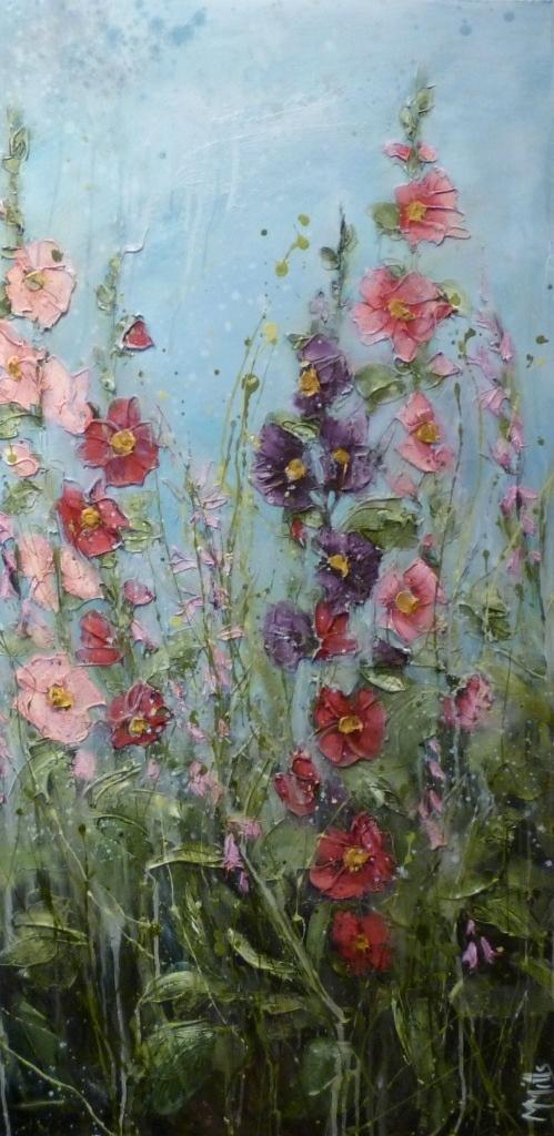 'Hollyhocks in Mother's garden' by Marie Mills, 50cm x 100cm, Oil on linen, £750. www.lyndhurstgallery.co.uk