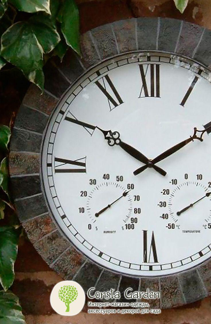 Уличные часы Marlborough Briers.Оригинальный и функциональный декор для внутреннего и внешнего использования для  загородного дома, беседки, террасы  или балкона –  часы в «каменной» раме.