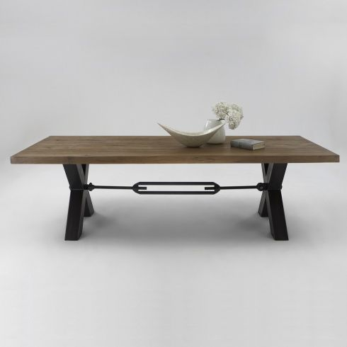 Bolt solid wood metal leg dining table from amode for Dining table with metal legs