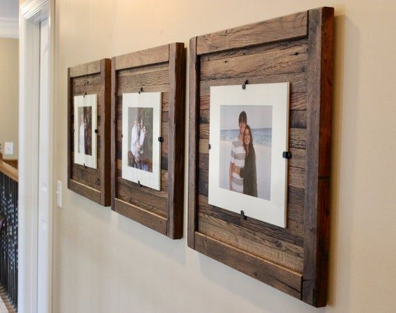 Wood Frames 5 X 7 With Mat 8 X 10 Without Mat Set Of 3 Free Shipping Reclaimed Wood Picture Frames Reclaimed Wood Frames Rustic Frames