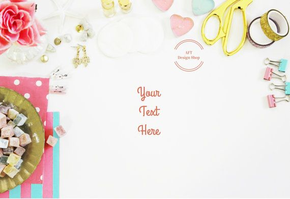 ♥ Beautifully styled stock photography mockup featuring lovely roses + cute white angels + marshmallows + gold box + pink paperclips + gold