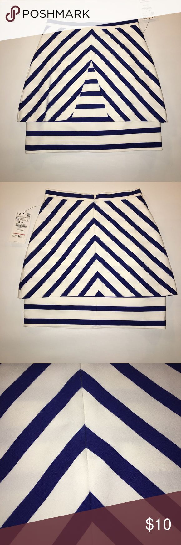 """Zara skirt Sexy and unique Zara skirt. Purchased from Zara Barcelona Spain. Never worn. This stretch skirt has a unique design and perfect for casual or party wear. Size is XS but this runs very small. I would consider this more of an XXS. 26"""" from waist to hem. Waist is 25"""" but the overall skirt is snug so be aware of you are a true XS it will be   snug. However if you're looking for a tight fit this will work perfectly.  48% cotton, 48% polyester, 4% elastane Zara Skirts Mini"""