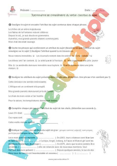 Attribut du sujet - Cm1 - Exercices à imprimer en 2020 ...