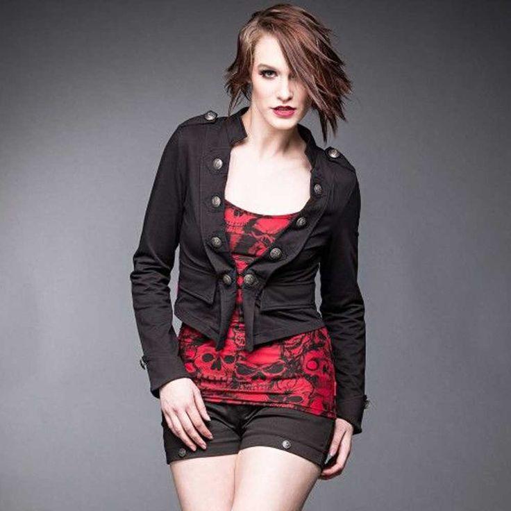 Queen of Darkness Militaire stijl korte dames jas zwart - Metal Rock G