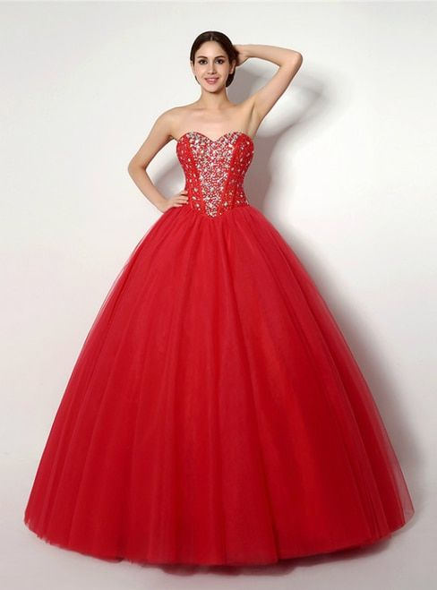 f506a30bf77 Red Ball Gown Lace Embroidery Sweetheart Floor Length Wedding Dress ...