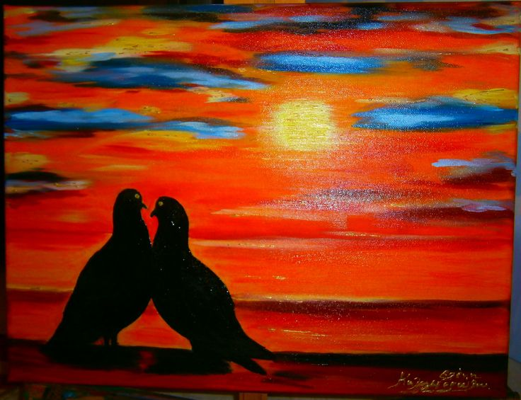 Pigeons at sunset Oil painting