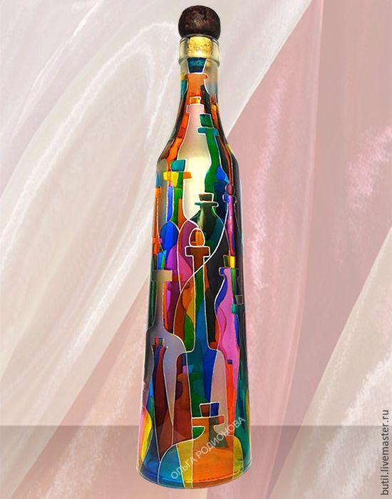Купить Бутылка матовая Дом Фауста, витражная роспись - фуксия, бутылка, бутылка декоративная