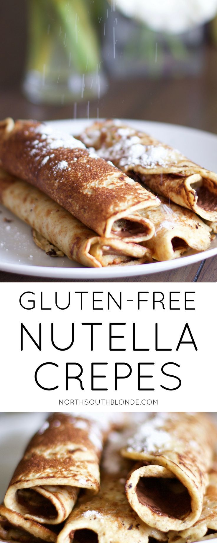 These warm, chocolatey, to-die-for Nutella Crepes are as sweet as it sounds! They're light, fluffy, and every chocolate lover's dream. Perfect for breakfast, dessert, holidays, and special occasions. Treat the mom in your life right this Mother's Day with this surprisingly easy & delicious treat. Gluten-free | Vegan | Paleo | Desserts | Easy Recipes | Chocolate | Nutella | Crepes | Breakfast | Healthy | Family-friendly | Kid friendly | Toddler Food | Baby Food | Food for Kids | N