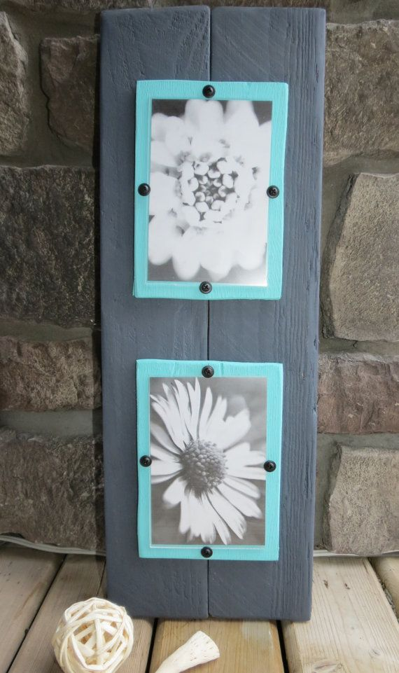 Wood Plank Double Frame for 4X6 Photos - Shabby, Rustic, Cottage Chic, Charcoal Grey, Aqua, Mother's Day Gift