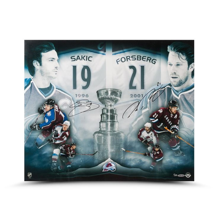 "JOE SAKIC & PETER FORSBERG AUTOGRAPHED ""2X CHAMPS"" 20 X 24 PHOTO UDA LE 25 - Game Day Legends - www.gamedaylegends.com Sports Memorabilia"