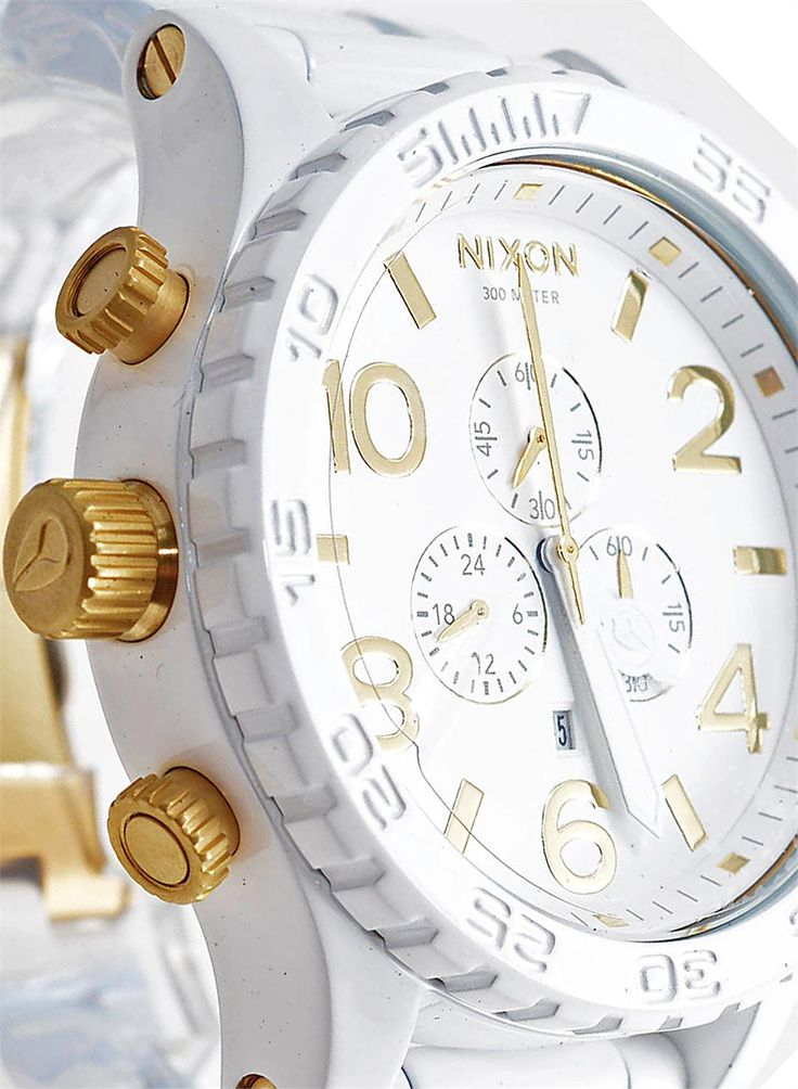 Nixon 51-30 Chrono All White/Gold Watch - The Coolest Watches from Watchismo.com
