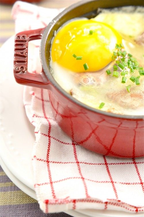 Oeufs En Cocotte (this recipe uses duck eggs, leeks, chanterelles, crème fraîche, opt. chives and baguette for dipping)