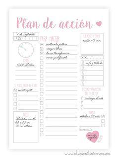 Plan de acción para organizar tus días. Imprimible gratis y en español.