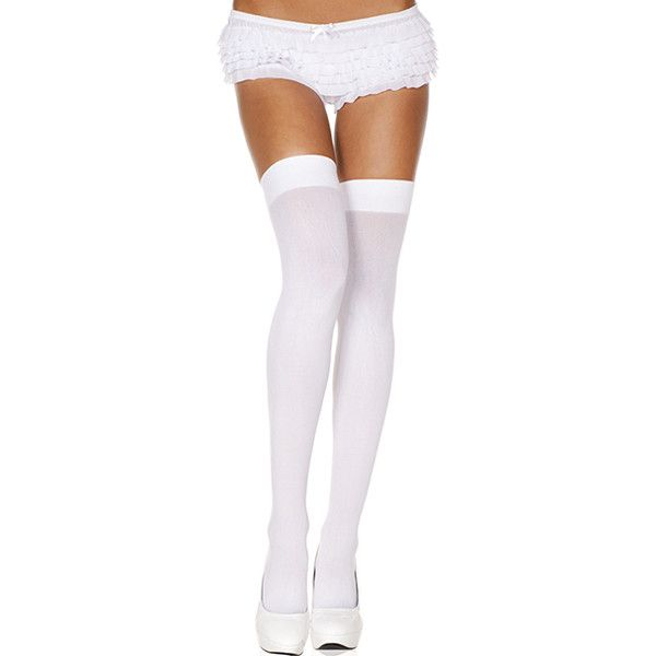 Women's ToBeInStyle Women's Opaque Thigh High (£7.51) ❤ liked on Polyvore featuring intimates, hosiery, socks, socks & hosiery, white, sheer sexy lingerie, sheer socks, sheer lingerie, sexy thigh high socks and lacy lingerie