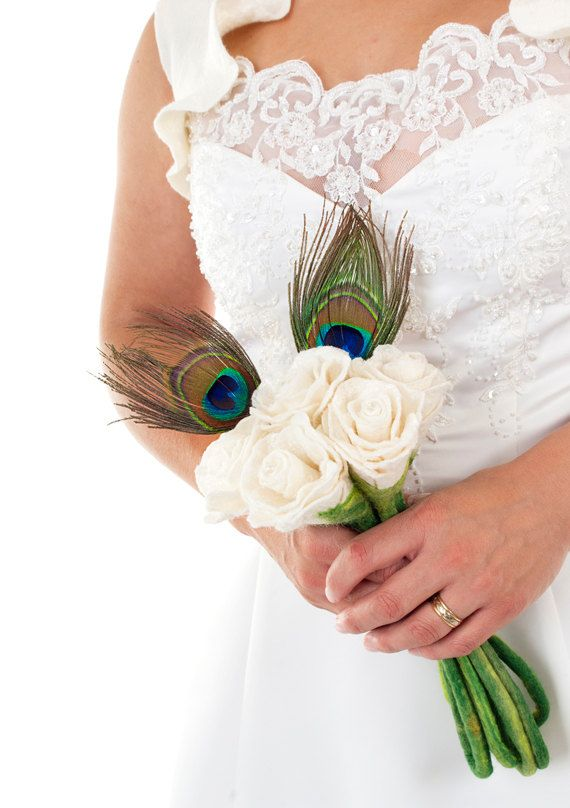 White Wedding Bouquets With Peacock Feathers : Peacock wedding flowers on inspiring ideas