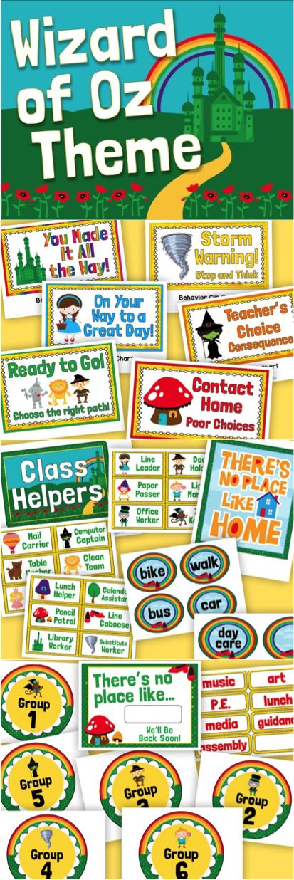 Huge WIZARD OF OZ classroom theme pack! 123 pages of signs, posters, labels, charts and more!