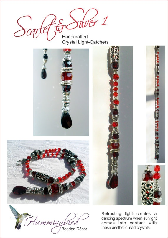 Scarlet Crystal and  Silver Light Catcher by Bead Décor on Etsy, £22.38