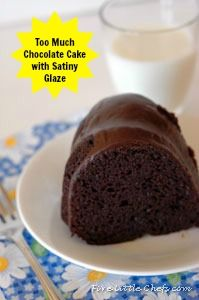 Too Much Chocolate Cake from fivelittlechefs.com with Satiny Glaze #recipe #dessert #chocolate