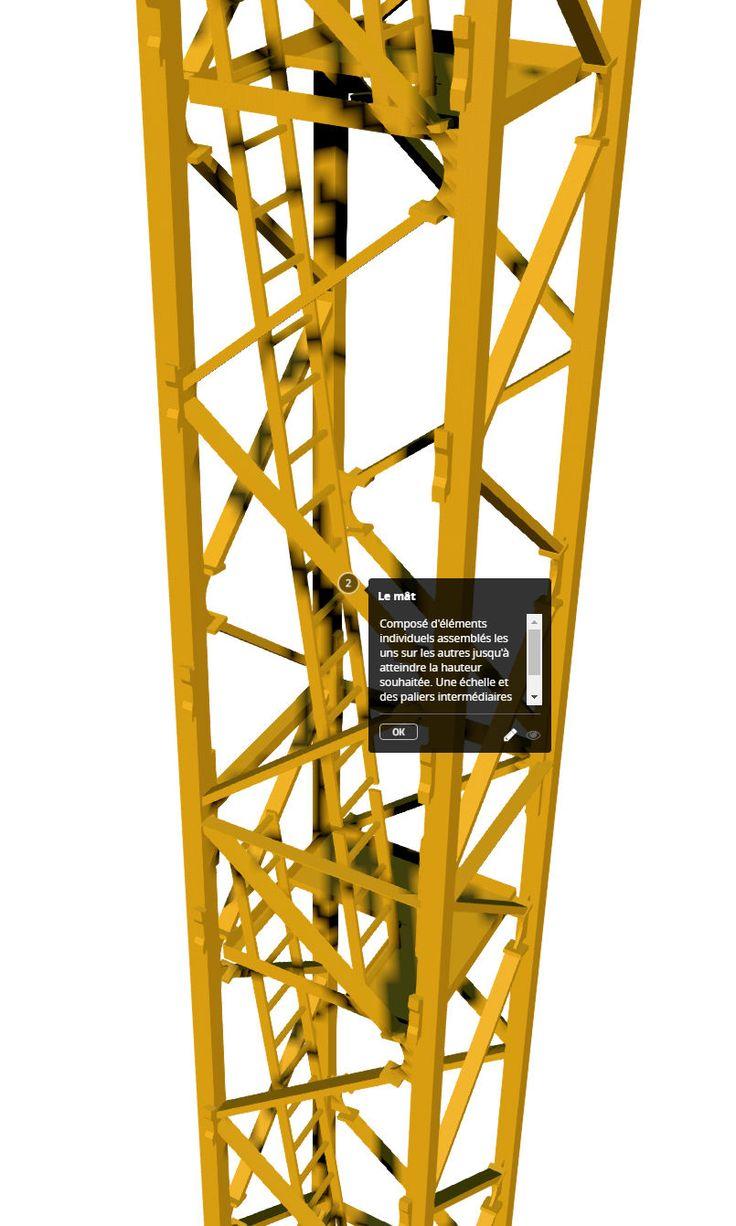 Modèle 3D d'une grue à tour - Le mât de grue