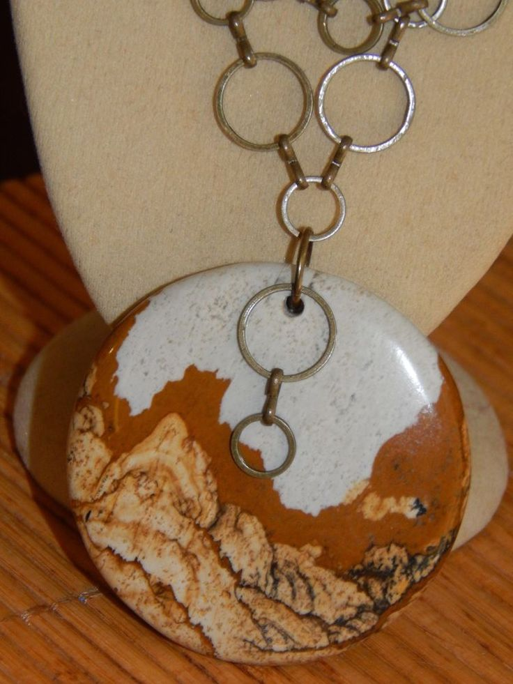 Long Antique Brass Loopy Chain & Big Natural Picture Jasper Pendant Necklace