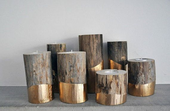 Set of Three Gold Dipped Driftwood Tealight Candle Holders via Etsy