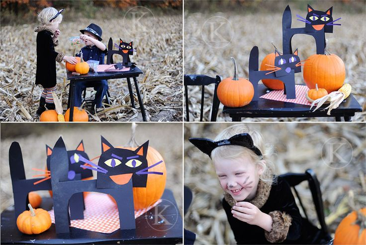 Cat Craft - Super Easy!  Fold an 8.5 x 11 sheet of black construction paper in half lengthwise.  Use the cut0out from the body for the head.  Kids can embellish with scraps.