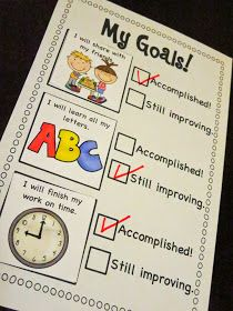 Mrs. Ricca's Kindergarten: Goal Setting Checklist FREEBIE! For first goal setting conference?