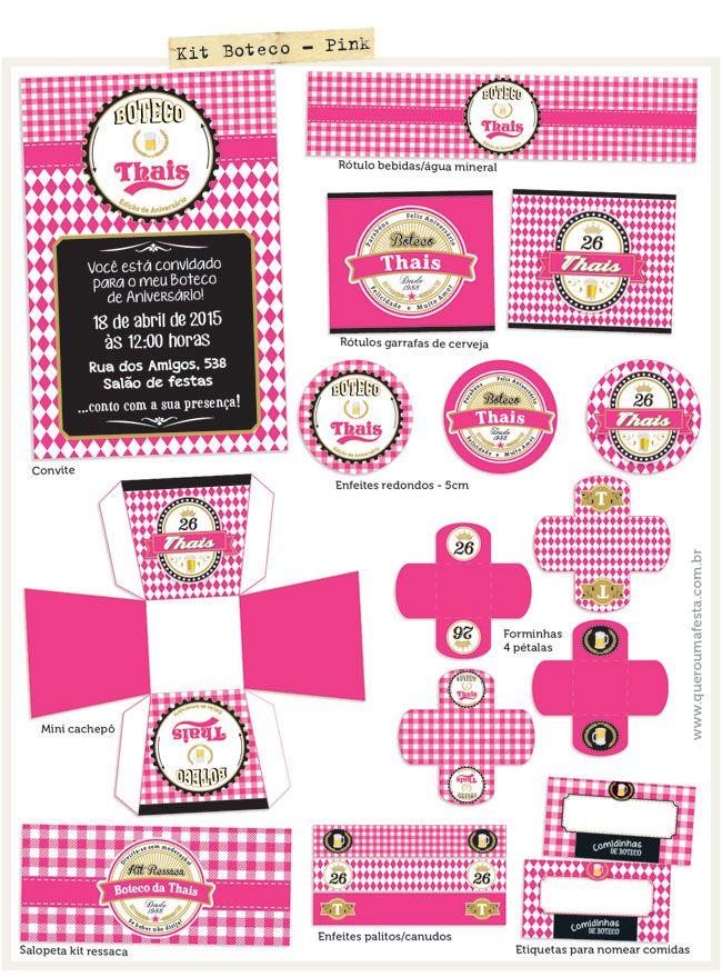kit festa boteco pink