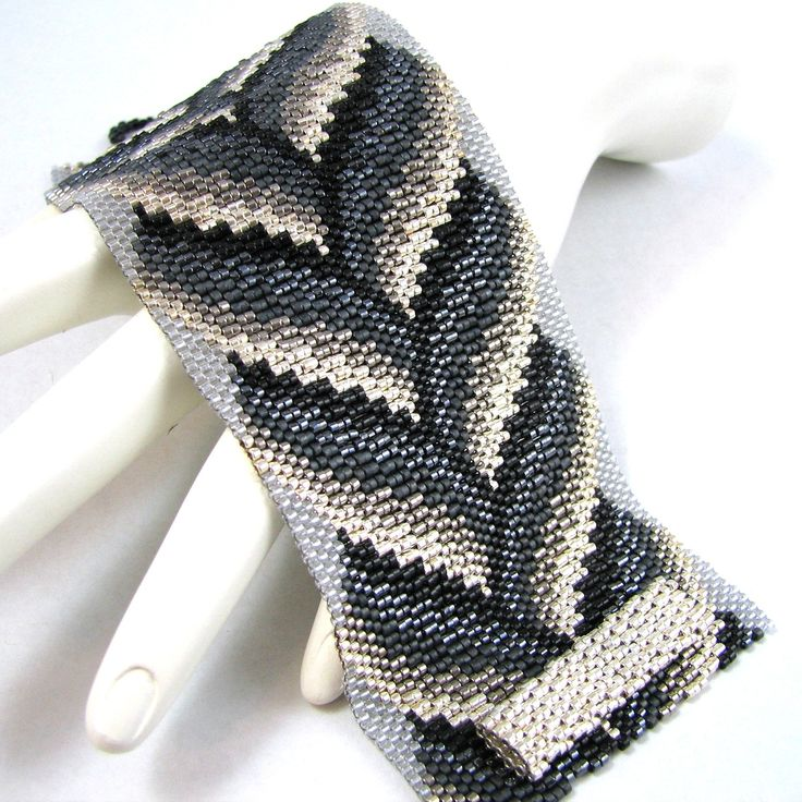 Slivers of Silver Bargello Braid Peyote Cuff by SandFibers on Etsy