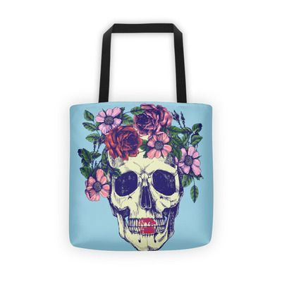 Floral Sugar Skull Lip Women's Tote Shoulder Bags Handbags Purse
