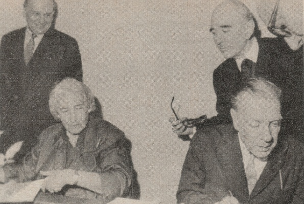 Writers Victoria Ocampo, Jorge Luis Borges and Manuel Mujica Láinez. Buenos Aires