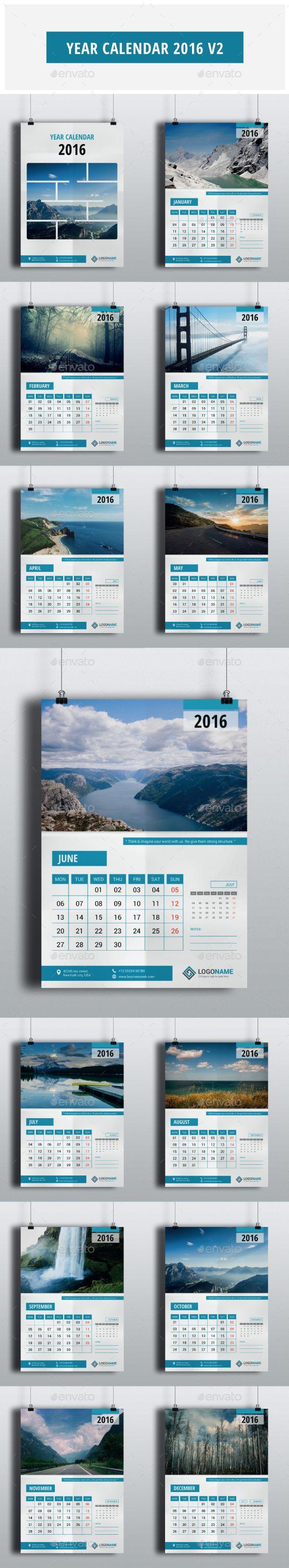 Year Calendar 2016 Vector Template EPS, AI #design Download: http://graphicriver.net/item/year-calendar-2016-v2/13602929?ref=ksioks