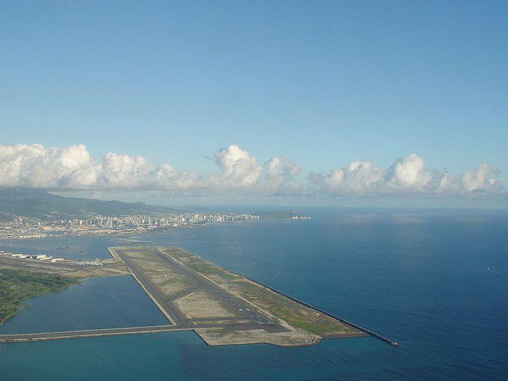 The Reef Runway with Honolulu in the background, Honolulu International Airport, Hawaii.