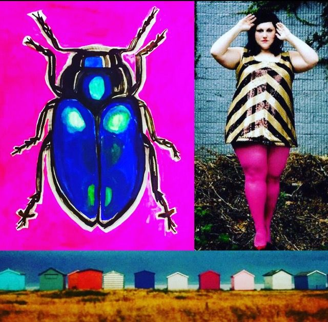 Photomashup Beetle drawing my me, Beth Ditto (found image) hayling beach huts photo by me Lizzie Reakes