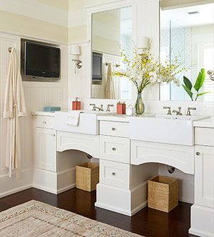 This is also a vanity option - number 3 on list of likes.  Still do not want to see plumbing though.  And I don't want farm sinks.