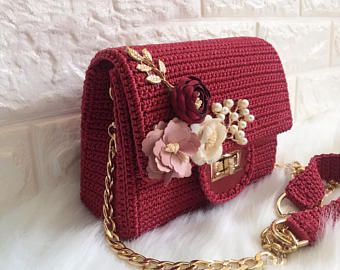 Feminine handmade crochet bag with silk flowers,gift for her, evening bag, summer bag, handbag, crochet bag, clutch