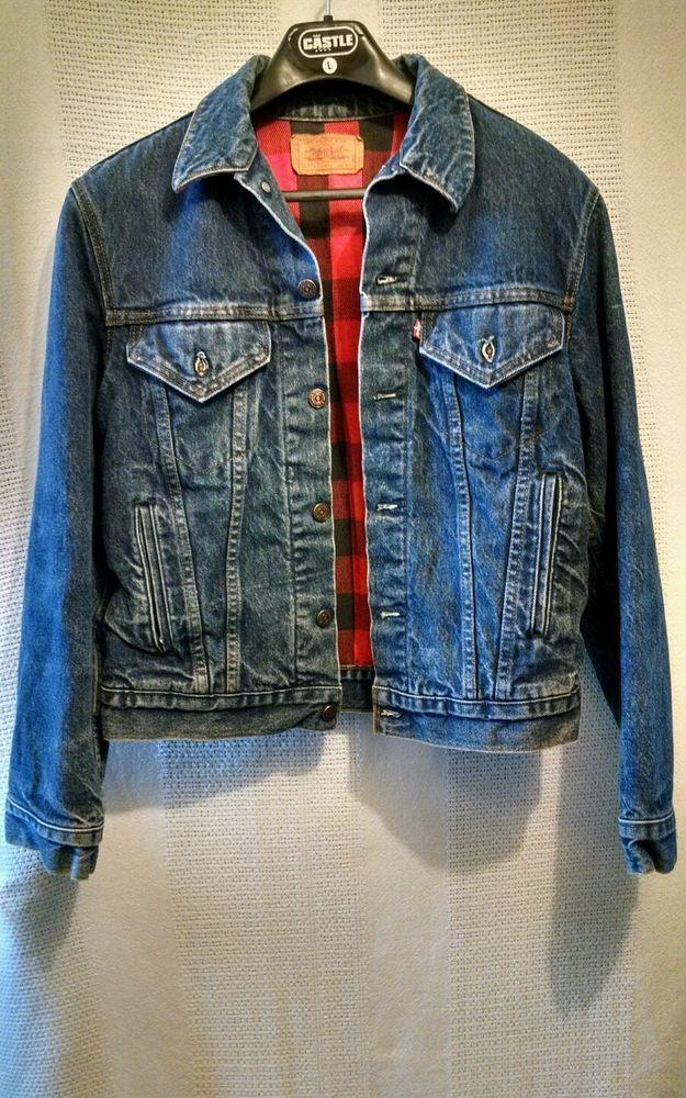 Levi's Solid Blue Trucker Jacket Flannel Lined 70411-0816 USA 100% Cotton sz 40 #Levis #JeanJacket
