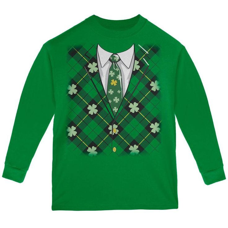 St Patricks Day Irish Suit and Tie Green Youth Long Sleeve T-Shirt