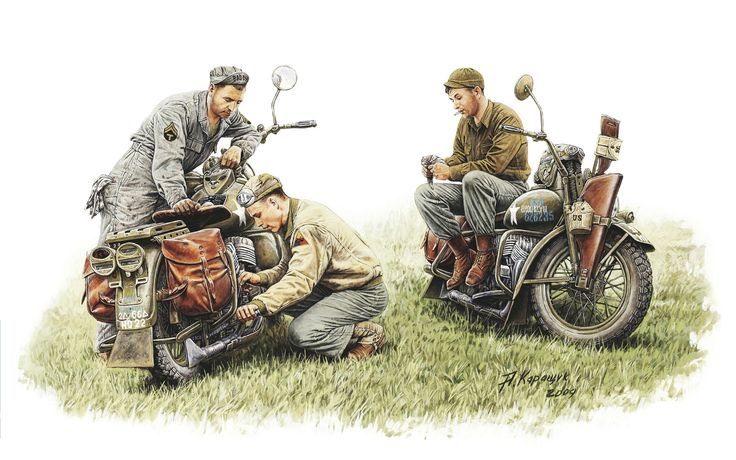 Militaires Dessiné US Repair Crew Harley-Davidson WLA  1942 year Armée