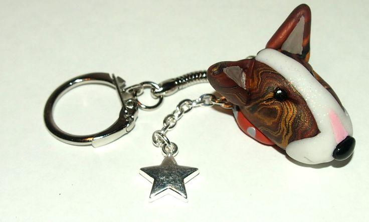 Brindle Bull Terrier key chain