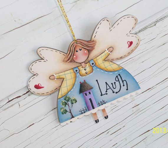 Hand Painted Angel Christmas Ornament by ToletallyPainted on Etsy, $8.00