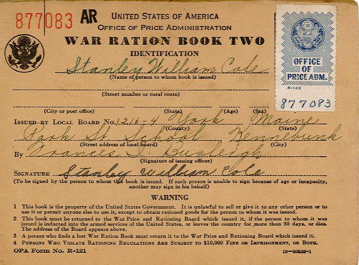 War ration stamp book