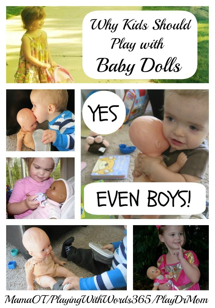Why kids (yes, even BOYS!) should play with baby dolls. Written by a pediatric occupational therapist, speech therapist, and clinical psychologist.