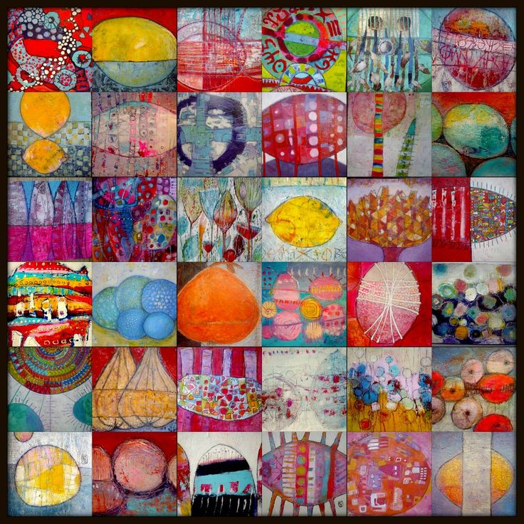 """Round and Round and Round"" collage of various size,acrylic on paper, Elke Trittel"