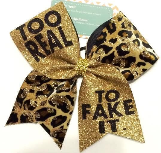 Too Real To Fake It Gold Glitter and Cheetah Cheer Bow