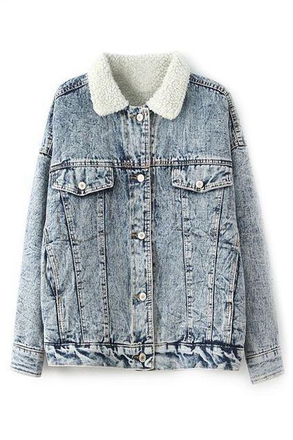 ROMWE | ROMWE Fake Pockets Buttoned Denim Coat, The Latest Street Fashion