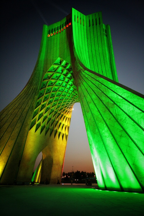 Freedom Tower. Tehran, Iran. The architect, Hossein Amanat, won a competition to design the monument, which combines elements of Sassanid and Islamic architecture. Amanat, a Baha'i, was driven from the country by the revolution against the Shah of Iran and the removal of religious pluralism. Built in 1971 in commemoration of the 2,500th anniversary of the Persian Empire. Today the leaders of the Baha'i Faith in Iran remain in prison. http://www.bic.org/fiveyears/
