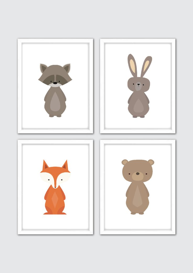 Woodland Nursery, Woodland Nursery Art, Woodland Animals Prints, Forest Animals, Forest Friends, Baby Animals, Raccoon, Rabbit, Fox, Bear by RomeCreations on Etsy